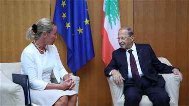 Mogherini meets with Aoun, reveals meeting to be held in New York on refugees' return
