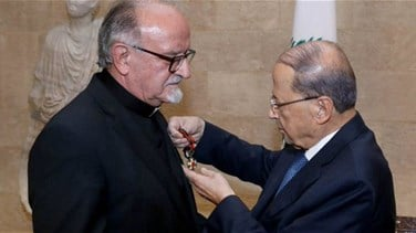 Aoun awards Father Moubarak National Order of the Cedar