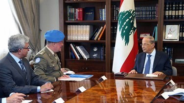 President Aoun meets Del Col over situation along southern borders