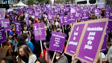 Tens of thousands march in France to condemn domestic violence