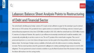 Fitch: Lebanon's Balance sheet analysis points to restructuring of debt and financial sector